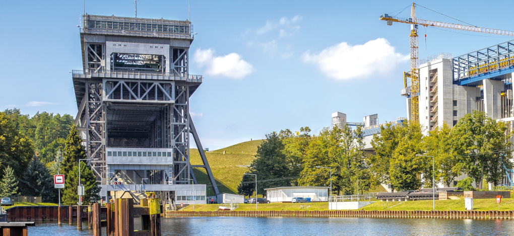 On the left is the old ship lift, which will support the new lift on the right for some time after its opening.